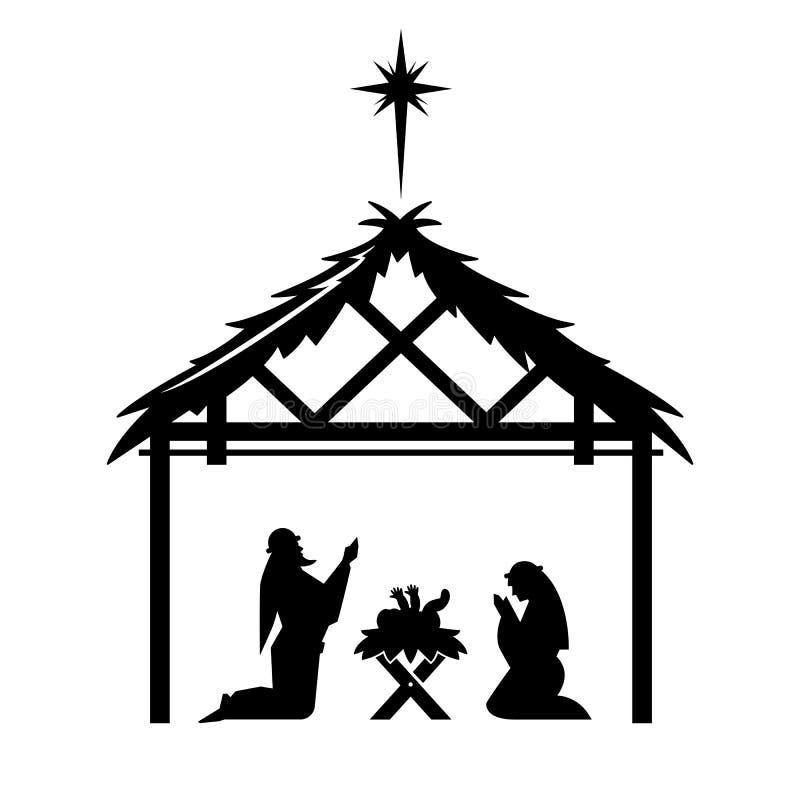 Maria y José ruegan sobre el Jesús nuevamente nacido stock de ilustración
