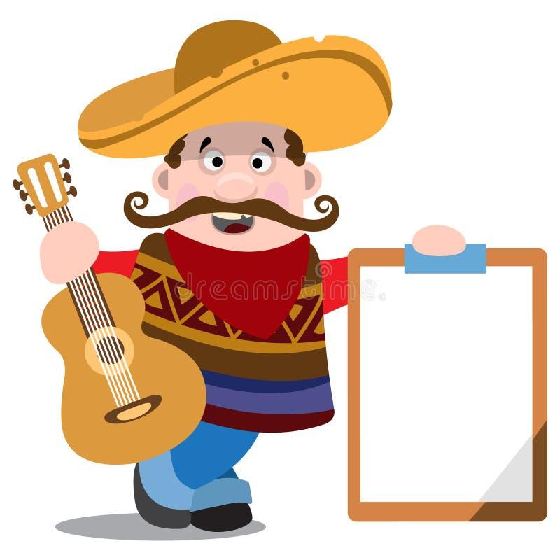 Mariachi σε ένα σομπρέρο με μια κιθάρα Μεξικάνικος μουσικός διανυσματική απεικόνιση