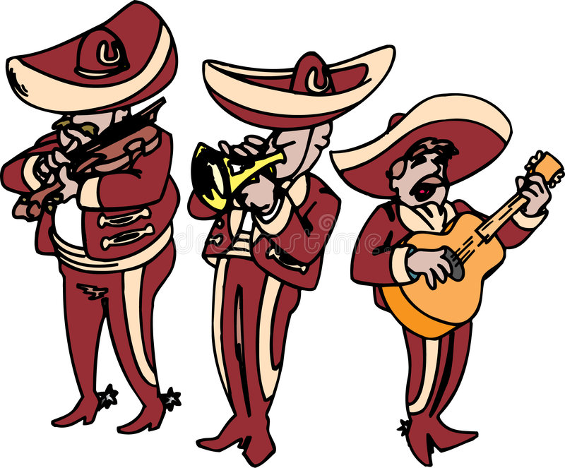 Mariachi. Band playing and singing songs vector illustration