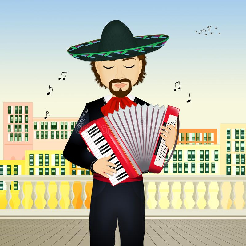 Mariachi with accordion stock illustration