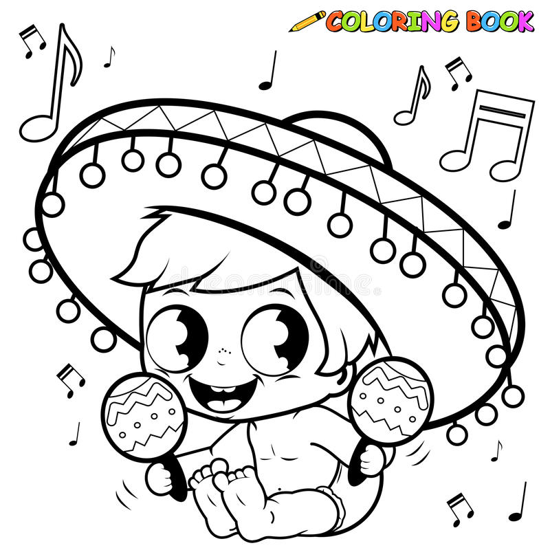 Mariachi baby boy playing the maracas coloring page. Vector black and white outline illustration of a happy mariachi baby boy playing the maracas and singing stock illustration