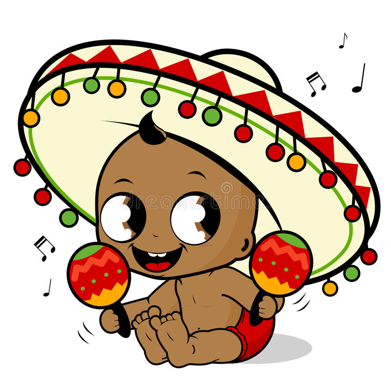Mariachi baby boy playing the maracas. Vector Illustration of a happy mariachi baby boy playing the maracas and singing vector illustration