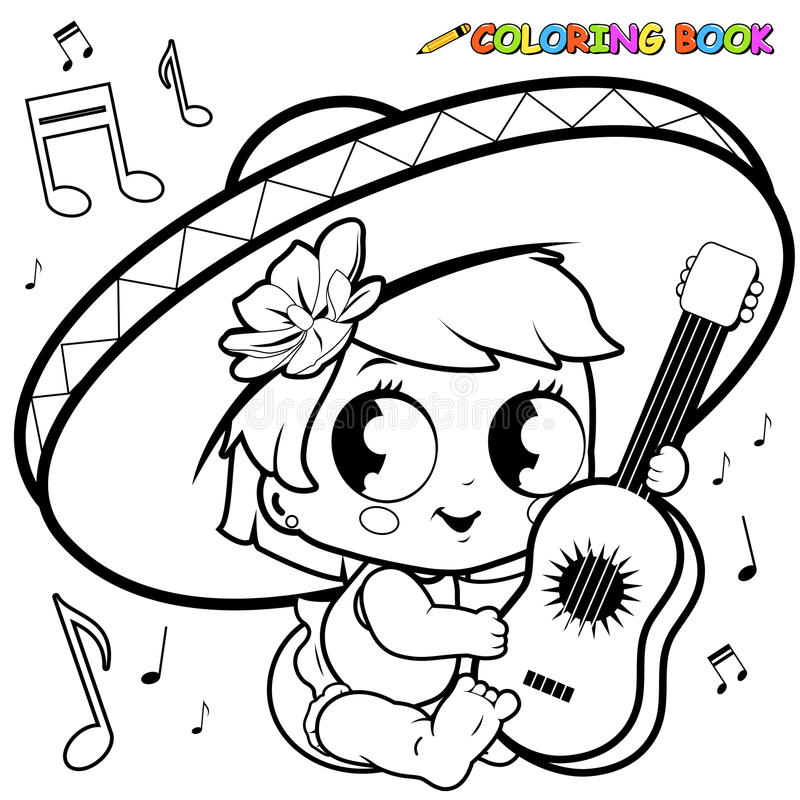 Download Mariachi Baby Girl Playing The Guitar Coloring Page Stock Vector