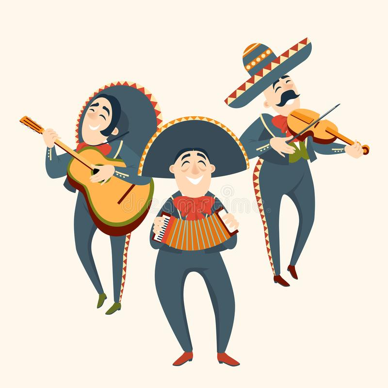 Mariachi band plays plays musical instruments. Mexican party. Set of vector illustrations royalty free illustration