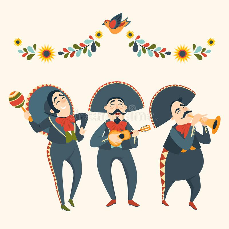 Mariachi band plays plays musical instruments. Mexican party. Mexican elements for decoration. Mariachi band plays plays musical instruments. Mexican party. Set vector illustration