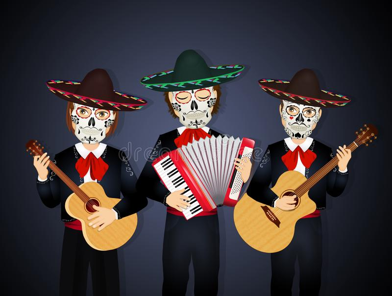 Mariachi band skull masks for the day of death vector illustration