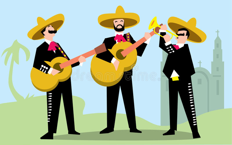 Mariachi Band in Sombrero with Guitar. Mexican Music Band. Vector illustration. The music group in traditional costumes of Mexico stock illustration