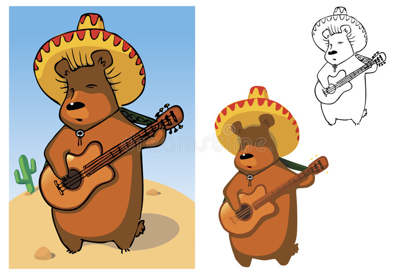 mariachi bear obraz stock