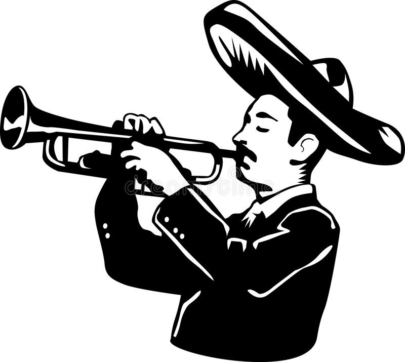 Mariachi cartoon playing trumpet. A black and white drawing of a mariachi royalty free illustration