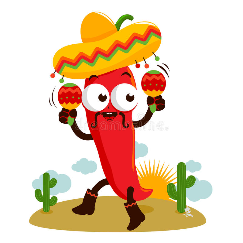 Mariachi chili pepper with maracas. A cartoon mariachi chili pepper playing music with maracas and dancing in the Mexican desert royalty free illustration