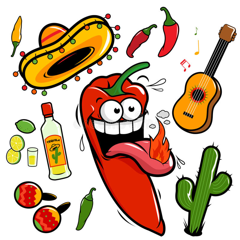 Mariachi chili pepper mexican icon collection. Hot mariachi chili pepper cartoon Mexican themed illustrations: guitar, tequila, lime, cactus, chili peppers and royalty free illustration