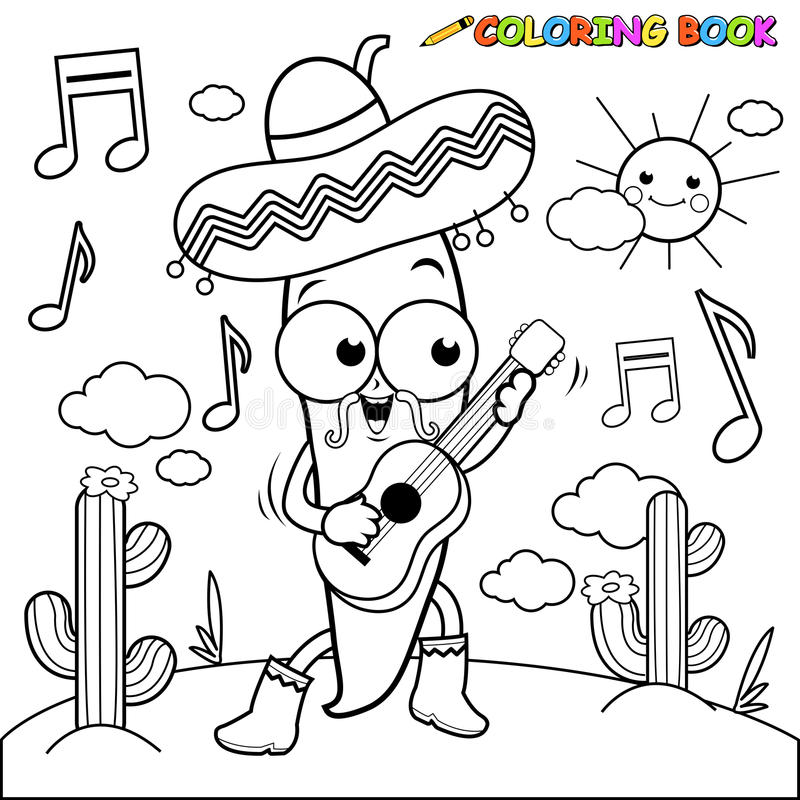 Mariachi chili pepper playing the guitar coloring page. Vector black and white Illustration of a mariachi chili pepper playing the guitar, singing and dancing in vector illustration