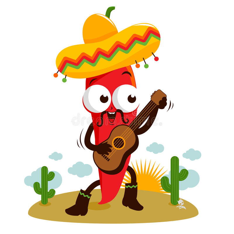 Mariachi chili pepper guitar. A happy mariachi red hot chili pepper playing the guitar, singing and dancing in the Mexican desert vector illustration