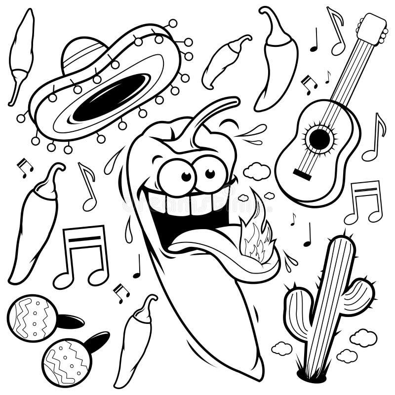 Mariachi chili pieprzu meksykanina kolekcja Czarny i biały kolorystyki książki strona royalty ilustracja