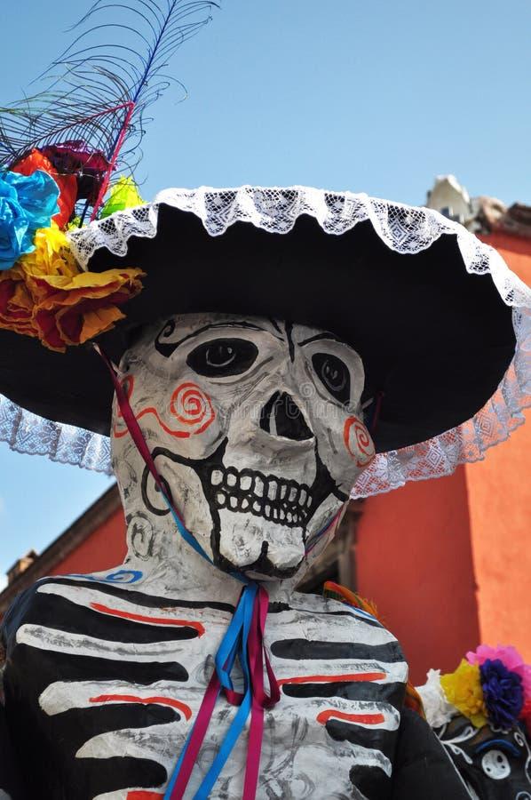 Mariachi de esqueleto festivo - dia mexicano da morte imagens de stock
