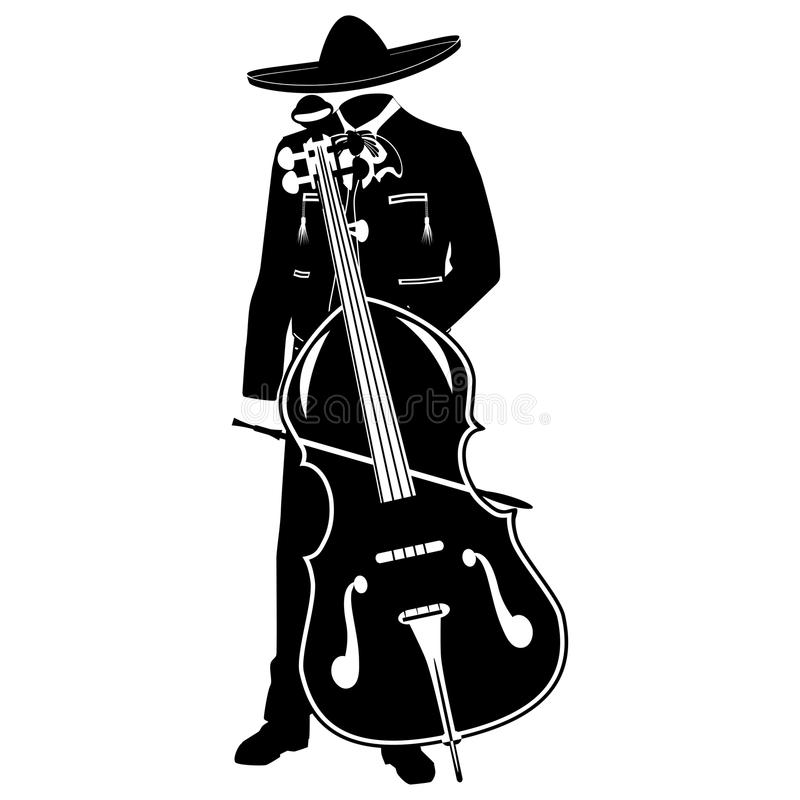 Mariachi with double bass vector black template. Mariachi musician with double bass in mariachi traditional costume and sombrero. Vector black template on white vector illustration