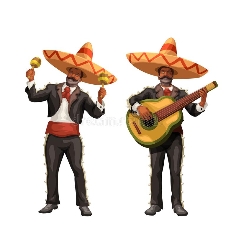 Mariachi with guitar and maracas. Illustration of mexican music band mariachi with guitar and maracas isolated on white background royalty free illustration