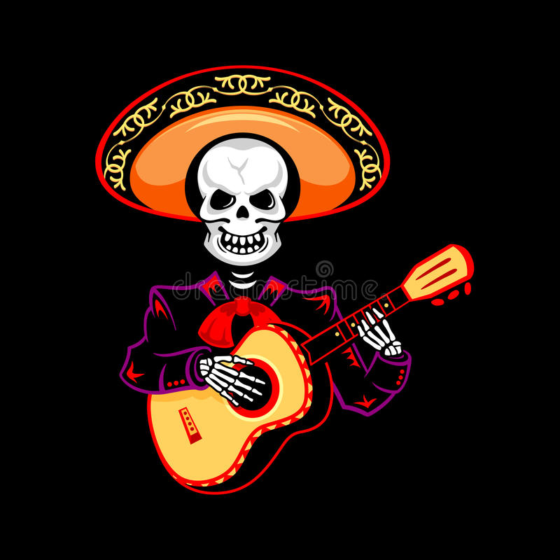 Mariachi guitar player. For Day of the Dead royalty free illustration