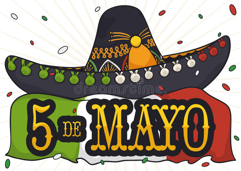 Mariachi Hat, Flag and Confetti Shower for Cinco de Mayo, Vector Illustration. Poster with charro or mariachi hat and Mexican flag under a confetti shower to royalty free illustration