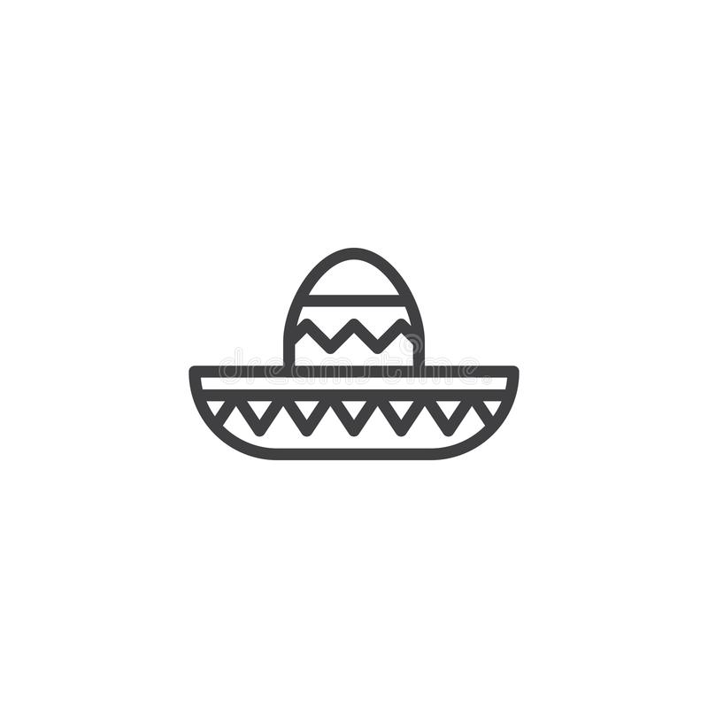 Mariachi hat line icon. Outline vector sign, linear style pictogram isolated on white. Symbol, logo illustration. Editable stroke stock illustration