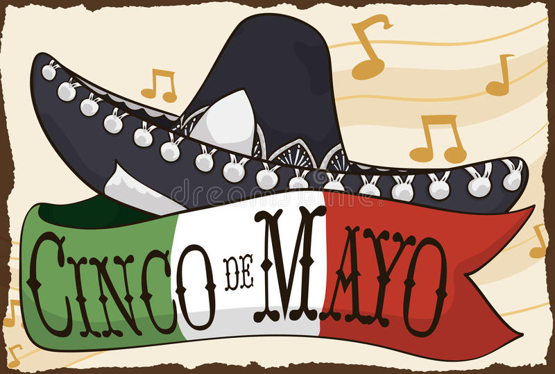 Mariachi Hat and Mexican Flag for Cinco de Mayo Celebration, Vector Illustration. Poster with traditional charro or mariachi hat and ribbon with the colors of stock illustration