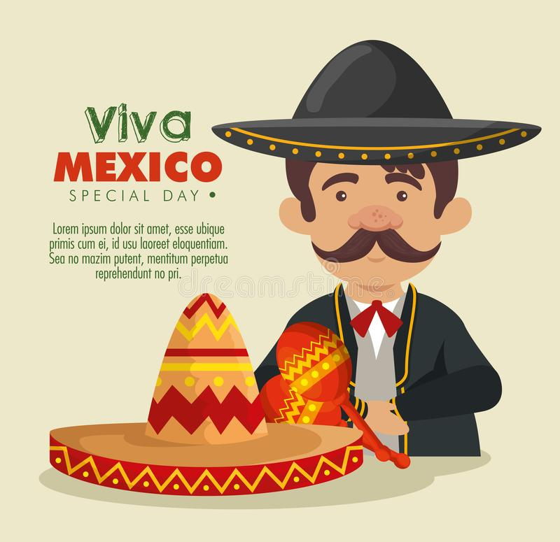 Mariachi man with hat and suit to celebrate event. Vector illustration stock illustration