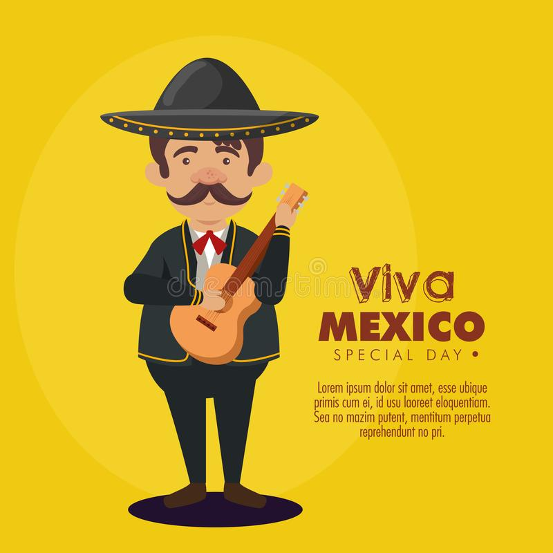 Mariachi man wearing hat with suit and guitar. Vector illustration stock illustration