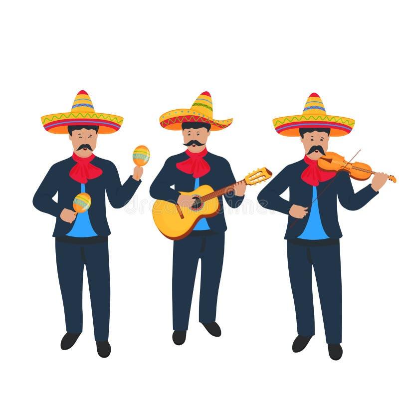 mariachi Mexicaanse straatband in het nationale kostuum spelen op muzikale instrumenten stock illustratie