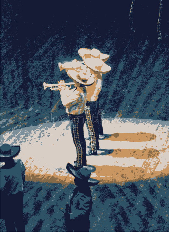 Mariachi, mexican musician ban. Mexican mariachi musician playing a guitar in Mexico. Illustration of a mexican band made using a photograph. I am the creator/ stock illustration