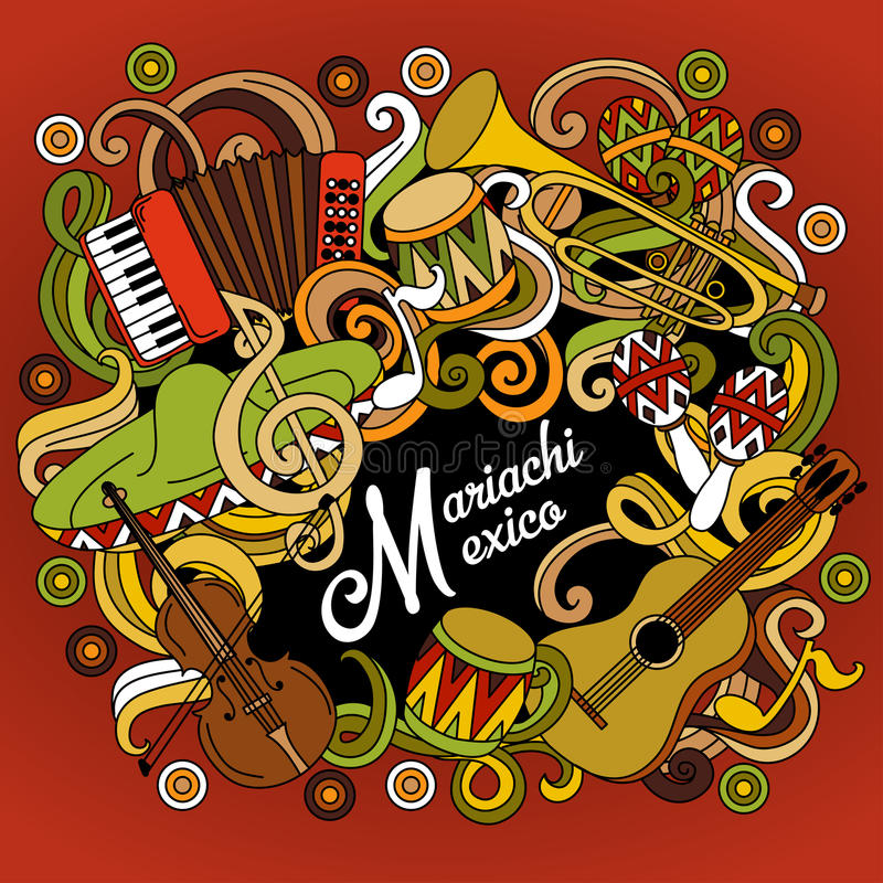 Mariachi Mexico colorful festive background. vector illustration