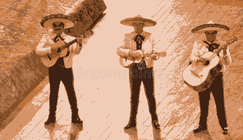 Mariachi musician band. Mexican mariachi musician playing a guitar in Mexico. Illustration of a band of three stock illustration