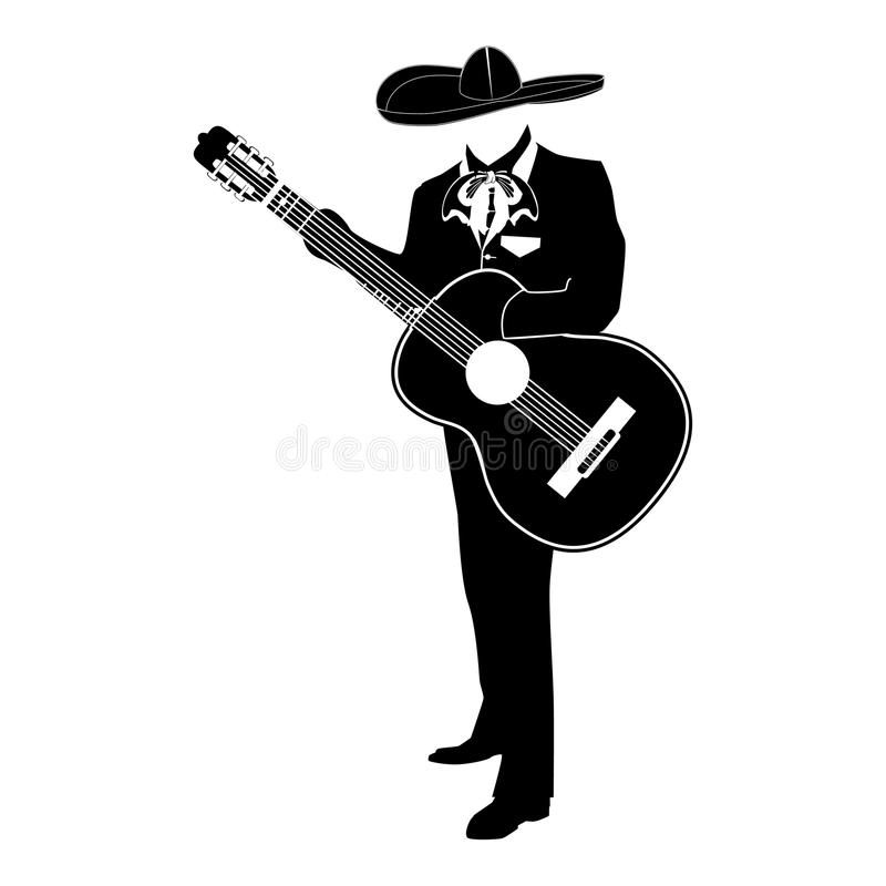 Mariachi musician with guitar vector illustration. Mariachi musician with guitar in mariachi traditional costume and sombrero. Vector black template on white stock illustration