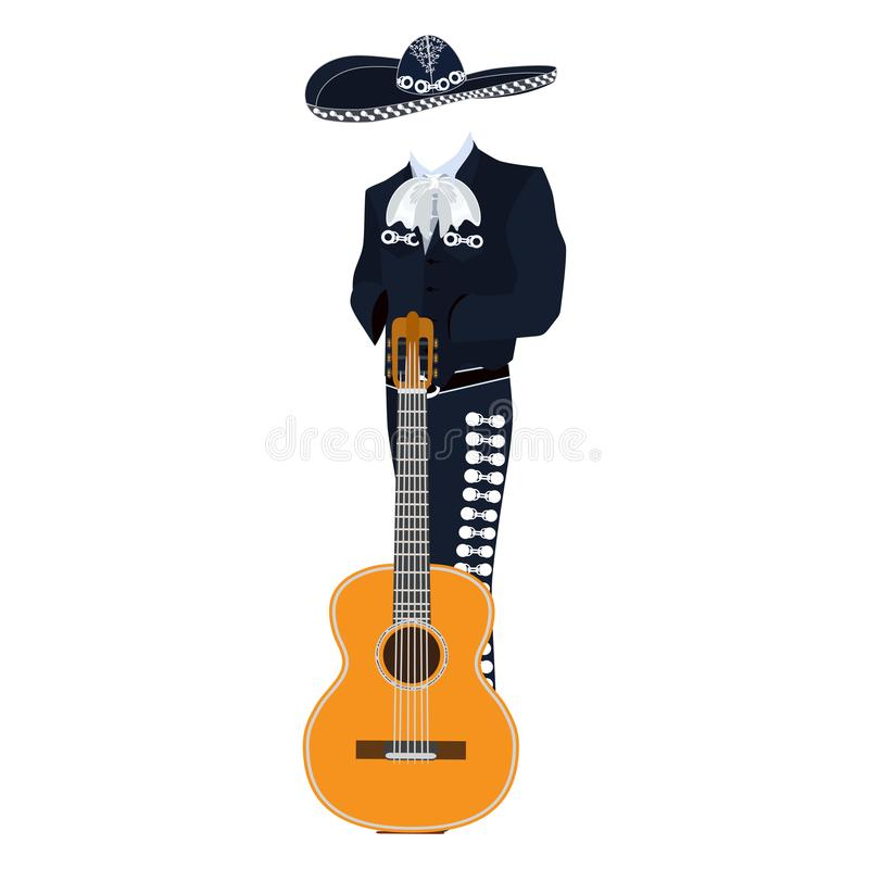 Mariachi musician with guitar vector illustration. Mariachi musician with guitar in mariachi traditional costume and sombrero. Vector illustration isolated on royalty free illustration