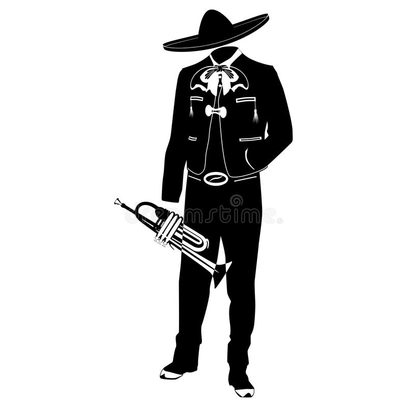 Mariachi musician with trumpet vector illustration. Mariachi musician with trumpet in mariachi traditional costume and sombrero. Vector black template on white royalty free illustration