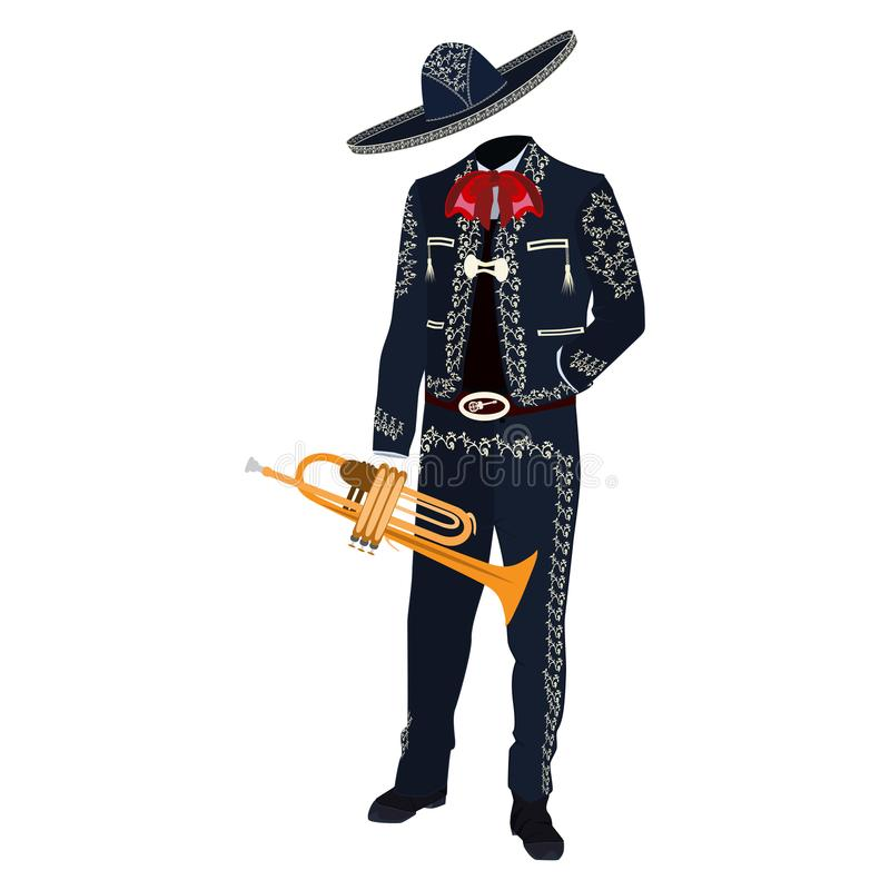 Mariachi musician with trumpet vector illustration. Mariachi musician with trumpet in mariachi traditional costume and sombrero. Vector illustration isolated on royalty free illustration