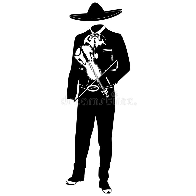 Mariachi musician with violin vector illustration. Mariachi musician with violin in mariachi traditional costume and sombrero. Vector black template on white stock illustration