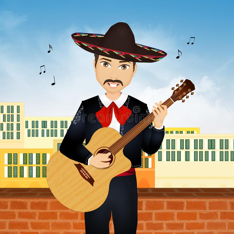 Mariachi play guitar. Illustration of Mariachi play guitar royalty free illustration