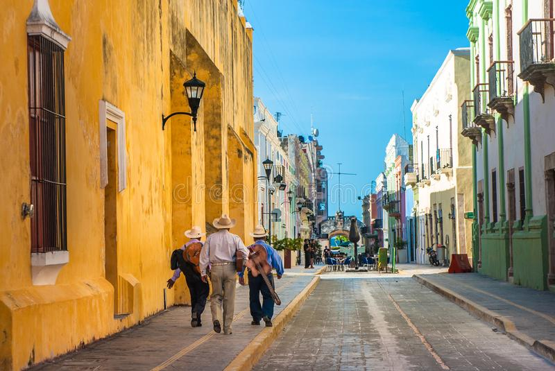 Mariachi on the streets of colonial Campeche city, Mexico stock photography