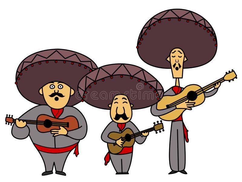 Mariachi três com guitarra ilustração do vetor