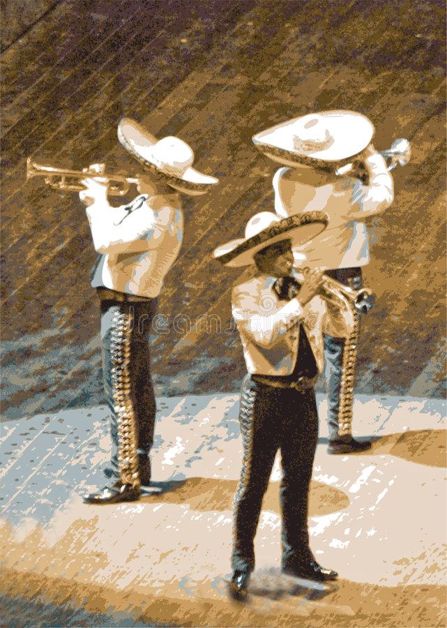Mariachi, trumpet musicians. Mexican mariachi musician playing trumpets in Mexico. Illustration vector illustration