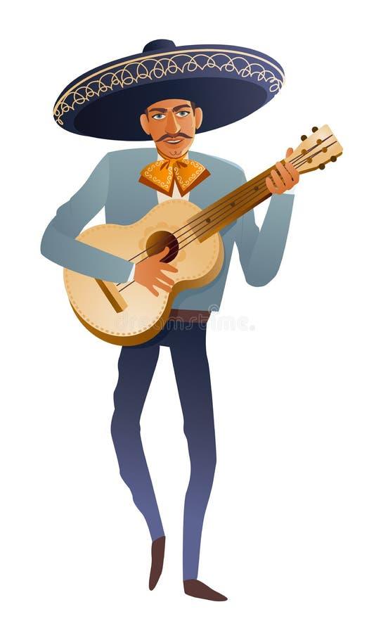 Mariachibandmusiker-Gitarrist Mexican-Tradition Dia de Muertos Auch im corel abgehobenen Betrag stock abbildung