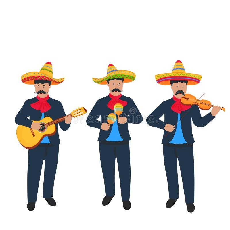 mariachis Meksykańscy uliczni muzycy w krajowym kostiumu bawić się na instrumentach muzycznych royalty ilustracja