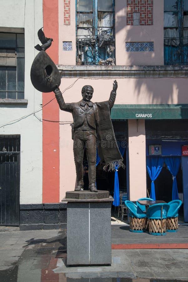 Mariachistatue Piazza Garibaldi in Mexiko City stockbilder