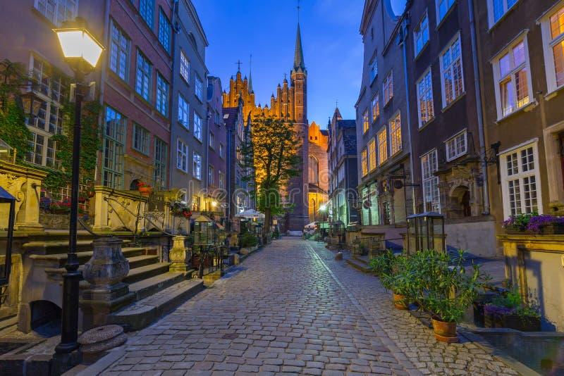Mariacka街道美好的建筑学在格但斯克 免版税库存照片