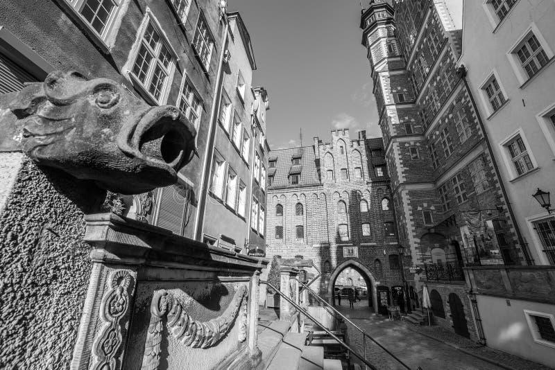 Mariacka街道建筑学在格但斯克 免版税库存图片