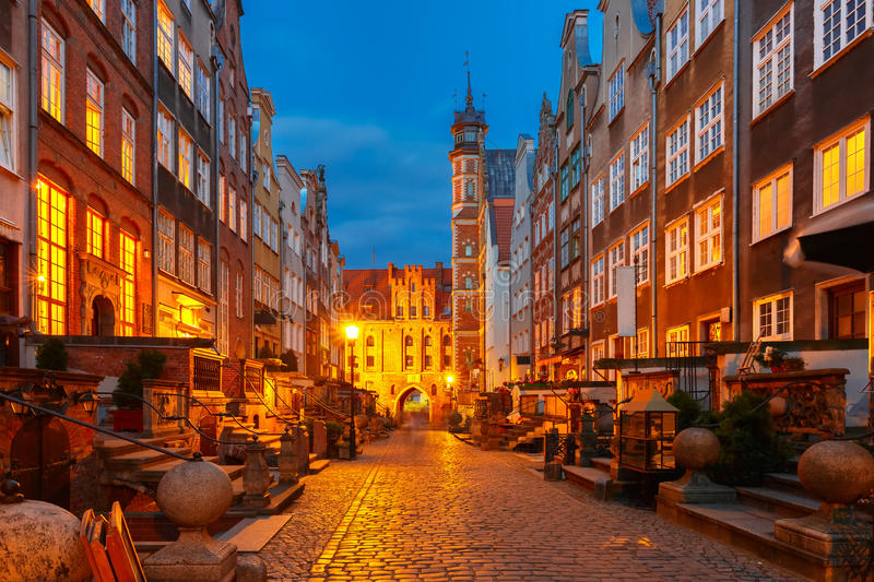 Mariacka street and gate, Gdansk Old Town, Poland royalty free stock photo