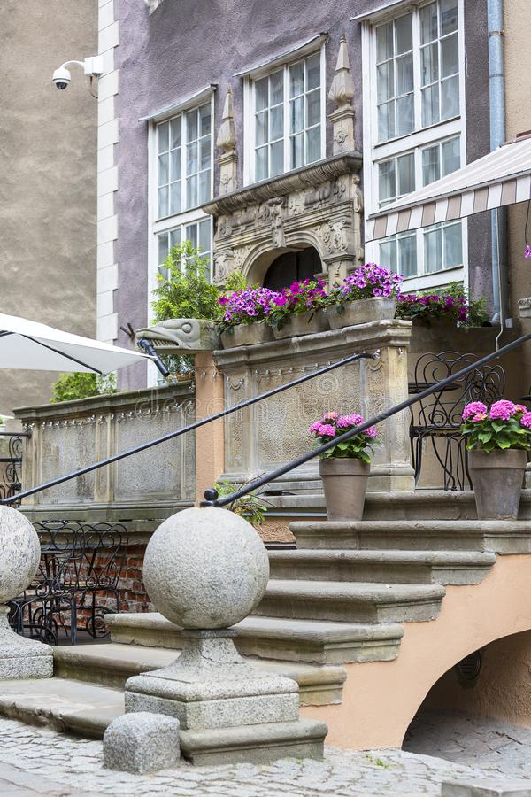 Mariacka street, typical decorative stoop with stone stairs, Gdansk, Poland. Mariacka street, typical decorative stoop with stone stairs, fronts of colorful stock photography