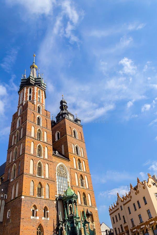 Mariacki教会,克拉科夫,波兰,欧洲 库存图片