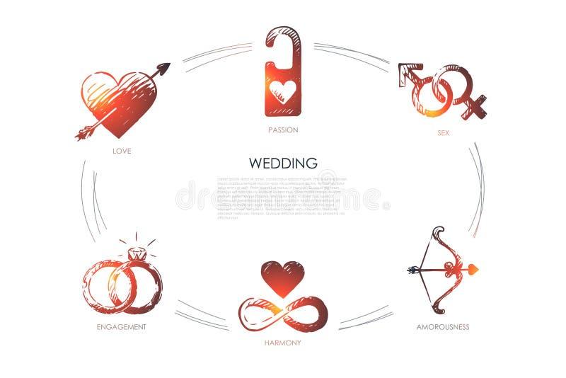 Mariage - amour, sexe, fiançailles, harmonie, amorousness, ensemble de concept de passion illustration de vecteur