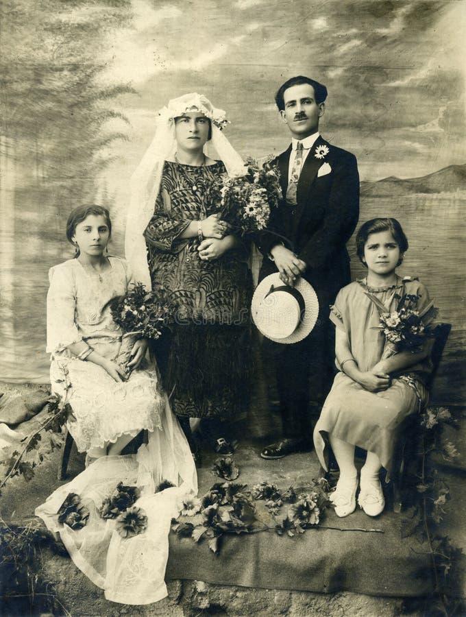 Mariage antique de photo de l'original 1925 images stock